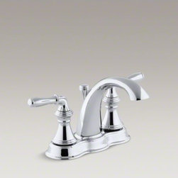 KOHLER - KOHLER Devonshire(R) centerset bathroom sink faucet with lever handles - Featuring a classic silhouette, this Devonshire sink faucet complements a variety of bathroom decors. The faucet features ergonomic sculpted lever handles for easy control. A spout and matching pop-up drain with a tailpiece completes the set.