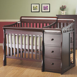 "Sorelle - Newport 2-in-1 Convertible Mini Crib and Changer Combo - The Newport 2-in-1 Convertible Mini Crib is a versatile, sturdy and beautiful combination crib and changer.It is the perfect solution for smaller bedrooms without compromising on style or safety. Once the baby grows, the mini crib also converts to a twin size bed with optional bed rails. Features: -Solid wood frame construction. -Space efficient; works well in small nurseries . -Detachable changing table included . -Crib converts to twin size bed with optional rails. -Exceeds all U.S. consumer products safety commission standards . -This is a NON-Drop Side Crib. This Crib is approved for use in the United States. Dimensions: -40"" H x 27"" W x 57"" D."
