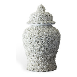 Kathy Kuo Home - Large Sculpted Ceramic Applique Porcelain Lidded Temple Jar - The traditional temple jar gets a modern makeover and the result is absolutely exquisite. This pretty porcelain piece is detailed with intricate flowers for lots of beautiful texture. Use it in the kitchen as an elegant alternative to a cookie jar, or display for all to see atop your mantel.