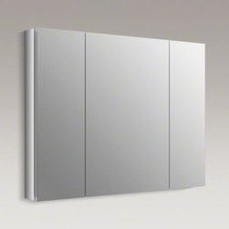 "KOHLER - KOHLER Verdera(TM) 40"" W x 30"" H aluminum medicine cabinet - The Verdera medicine cabinet combines an elegant fit and finish with quick, easy installation. Triple mirrored doors create a light-filled gallery effect, opening to a fully mirrored interior with three adjustable glass shelves."