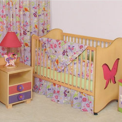 Room Magic - Room Magic 2-in-1 Butterfly Crib - RM22-MGD - Shop for Cribs from Hayneedle.com! As your dear little one gets bigger and bigger one thing remains certain: they'll never outgrow their love for the Room Magic 2-in-1 Butterfly Crib. This creative design inspires your little one to love her personal space and alone time making naptime and bedtime a happy experience. An elegant image of growth and change the delicate butterfly adorning the sides of this crib inspire a love of natural beauty and whimsical fantasy providing your darling dear with sweet dreams. When she's awake the fun shapes and colors will keep her entertained until it's time for her to get up. This playful detailing is adorably coupled with a soft organic wave on the two ends that mirrors that of the toddler bed guide rail.Masterfully made using solid hardwood covered in veneer this bed comes in your choice of finish color for a look that suits you and your child's nursery to a tee. And because of the three mattress levels and ability to transition into a cute toddler bed with a convenient conversion kit this crib will keep your baby sleeping tight until she's ready to spread her wings and metamorphose into a true big kid. The four casters help you move it easily around the nursery while two of the casters can be locked into place for safe stable slumber. The clever design also means that it assembles in almost no time at all.About Room MagicRoom Magic is a new face in the children's furniture and accessories industries but they've already made quite an impression with their whimsical designs. Using brightly colored and natural-finished birch wood to craft unique lively pieces Room Magic captured the prestigious American Association of Furniture Designers Pinnacle Award. Room Magic furniture is designed with a keen eye for detail and close adherence to quality standards. Bright enchanting colors on natural birch wood create magical environments while lacquered coatings highlight the wood grain and ensure lasting beauty.