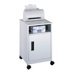 Safco - Safco Machine Stand in Gray - Safco - Printer Stands - 1871GR - This compact mobile office machine/supply stand fits neatly into small areas. Complete with steel cabinetry and a matching scratch-resistant laminate top. Piano-hinge single door opens to a convenient storage area. Use the open area under the top for frequently accessed materials. Mobile on four swivel casters (two lock).