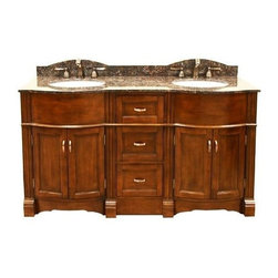 Legion Furniture - 60 in. Double Sink Vanity w Granite Top - Includes vanity and granite top. Faucet not included. Dark tan brown granite top. Four doors. Three drawers. Antique copper handles. Curved front edge. Pre-drilled 8 in. c.c. faucet hole. cUPC certified white porcelain undermount sink. 4 in. backsplash. Measurement tolerance:(+/- 0.25 in.). Made from solid poplar, veneered plywood and MDF. Light walnut finish. Minimal assembly required. Top: 61 in. W x 22 in. D x 0.75 in. H. Vanity: 60 in. W x 21.5 in. D x 34 in. H