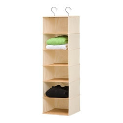 6 Shelf Hanging Organizer - Bamboo/Natural - Honey-Can-Do SFT-01003 6-Shelf Hanging Vertical Closet Organizer, Natural Bamboo and Canvas. Turn a jumbled mess into a well-organized closet with our eco-friendly soft storage solutions. Made of sustainable materials, this durable piece keeps clutter at bay using every inch of available space for endless storage possibilities. This organizer has reinforced shelves for great capacity and easily attaches directly to your closet rod with two included steel hooks. Perfect for folded sweaters and other garments, it can also be used for small bags and accessories. Beautiful bamboo accenting creates a classic, eco-friendly look that complements any decor.  Add Honey-Can-Do storage drawers (sold separately) for an alternate storage option. One item in Honey-Can-Do's mix and match collection of sturdy canvas closet organizers available in several colors, it's a perfect blend of economy and strength.