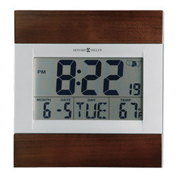 """Howard Miller - Techtime III Digital Alarm Clock w Calendar D - Know all the details you need to properly make it through your day with this incredible digital wall clock with calendar display. It provides the month, date, day of the week, and temperature. It even tells time right down to the second in 12 or 24 hour format. * Two-tone satin silver LCD display alarm clock with Americana Cherry finished wood accentsLarge 2"""" numerals display the time,with selectable 12 or 24 hr. time formatDay of the week,month,and date are also displayed on the dialMay be wall mounted,or displayed on a tabletop using folding easel standQuartz,battery-operated radio controlled movement with radio signal strength display9.25 in. H x 8.75 in. W x 1 in. D"""