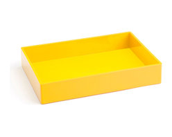 Poppin - Accessory Tray, Yellow - When it comes to organizing, don't head for the straight and narrow. Become an accessory to wild style with this tray on your desk, vanity or closet shelf. It measures 9 3/4 by 6 3/4 by 1 1/2 inches and is finished in your choice of eye-popping colors in a lacquer-like finish.
