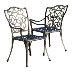 Great Deal Furniture - Venecia Outdoor Cast Aluminum Dining Chairs (Set of 2) - The Venecia dining chair will bring luxury and convenience to your outdoor space. Made from cast aluminum, these durable high quality chairs feature intricate design on the backrest and a diamond-mesh seat rest. The antique shiny finish is neutral to match any outdoor furniture and will hold up in any weather condition. Whether in your backyard, patio, deck or even your restaurant outdoor dining space, you'll enjoy these chairs for years to come.