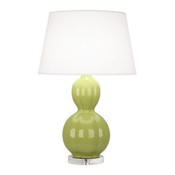 Robbert Abbey - WILLIAMSBURG Randolph Lucite Base Table Lamp - Parrot Green - Comes in a variety of colors.  1-150W Max.  Bulb Type: A.  Switch: Hi-Lo Dimming.  Glazed Ceramic.  Pearl Dupoini Fabric Shade.  Shade: 15 1/2� w x 20� d x 12 1/2� h