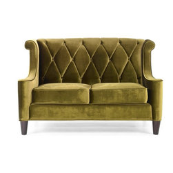 Armen Living - Armen Living Barrister Green Velvet Loveseat - LC8442GREEN - Shop for Sofas and Loveseats from Hayneedle.com! In warm olive green the velvety soft Armen Living Barrister Green Velvet Loveseat brings a touch of cool vintage style and dramatic flair to the living room floor. Upholstered in luxuriously plush tufted velvet framed by chic matching piping and elegantly curved wings this loveseat combines casual style and deep-seated comfort. High bolsters offset a diamond button-tufted seat back sitting atop a solid base of kiln-dried hardwood.Delivery Notice: This item includes White Glove Freight Delivery to the room of your choice including up to two flights of stairs. The product is unpacked debris is removed and basic setup without tools is included. Full assembly service typically involves additional charges payable prior to delivery. Special service arrangements may be made directly with the freight carrier when they call you for your delivery appointment.About Armen LivingImagine furniture without limits - youthful robust refined exuding self-expression at every angle. These are the tenets Armen Living's designers abide by when creating their modern furniture collections. Building on more than 30 years of industry experience Armen Living combines functional versatility and expert craftsmanship into their dramatic furniture styles all offered at price points fit for discriminating budgets. Product categories include bar stools club chairs dining tables ottomans sofas and more. Armen Living is based in Sun Valley Calif.