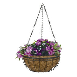 Woodstream - Queen Elizabeth Round Hanging Basket Planter - Bronze Round Coco Liner/Mild Stee - Shop for Planters and Pottery from Hayneedle.com! You'll feel like you stepped back in time into an English theme garden when you decorate your deck patio gazebo or entrances with Queen Elizabeth Round Hanging Basket Planters. The traditional steel wire construction and classic antique green/bronze finish represents the ageless beauty found in the golden age of England. This planter is made to endure nature's elements and age to perfection for years of use; it comes with a 4-piece hanging chain and a natural coco liner. Planters and hanging baskets are an outdoor staple but there is nothing common or trite about the Queen Elizabeth Round Hanging Basket Planter. Like the royalty that inspired its creation this is a planter that demands respect.About Woodstream and CobraCoA privately held company with a long-standing positive reputation Woodstream is a global manufacturer and marketer of quality products from pets and wildlife control and home and garden products to bird feeders and garden decor. They have a 150-year history of excellence growth and innovation and have built a strong presence in key markets through organic growth and strategic acquisitions. Most recently Woodstream acquired CobraCo which offers an extensive line of planters baskets flower boxes and accessories. The growth of Woodstream is thanks to their customer-driven approach to product development a dedicated design organization that focuses on innovation quality and safety as well as a commitment to an industry-leading level of service.