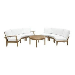 """LexMod - Marina 7 Piece Outdoor Patio Teak Sofa Set in Natural White - Marina 7 Piece Outdoor Patio Teak Sofa Set in Natural White - Harbor your greatest expectations with this luxurious solid teak wood outdoor set. Marina has a seating arrangement perfect for every member of your crew as you breathe the fresh crisp air of a day spent with friends and family. Known for its natural ability to withstand extreme weather conditions, teak is the wood selection of choice for long-lasting outdoor furnishings. Now you can enjoy Marinas durable construction and all-weather cushions, alongside a modern design that persistently looks new and welcoming. Zoom in on the product image before you, and see the exquisite texture and detail for yourself. Set Includes: One - Marina Teak Left-Arm Sofa One - Marina Teak Right-Arm Sofa One - Marina Teak Round Coffee Table Two - Marina Teak Middle Sofa Two - Marina Teak Rounded Corner Sofa Solid teak wood construction, Richly textured wood graining, Water & UV Resistant Cushions, Machine Washable Covers Overall Round Corner Sofa Dimensions: 53""""L x 32.5""""W x 31.5""""H Overall Left-Arm Sofa: 30.5""""L x 32.5""""W x 31.5""""H Overall Right-Arm Sofa: 30.5""""L x 32.5""""W x 31.5""""H Overall Middle Sofa Dimensions: 25""""L x 32.5""""W x 31.5""""H Overall Round Coffee Table Dimensions: 40""""L x 40""""W x 19""""H Floor to underside of table: 15.5""""H Table top thickness: .5""""H Round Corner Seat Dimensions: 50.5""""L x 23""""W x 12""""H Overall Product Dimensions: 90""""L x 60""""W x 31.5""""H - Mid Century Modern Furniture."""