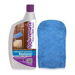 For Life Products, Inc. - Rejuvenate 13-Ounce Cabinet & Furniture Restorer with Applicator Mitt - The Rejuvenate Cabinet & Furniture Restorer features a special formula that fills in scratches, protects and instantly restores the shine and luster of finished wood, Formica, and laminate surfaces of cabinetry, furniture and wall paneling.