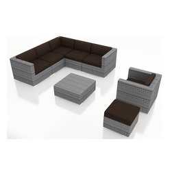 Harmonia Living - Urbana 8 Piece Modern Sectional Set, Weathered Stone Wicker, Beige Cushions - For your large patio seating and premium outdoor furniture needs, the Harmonia Living Luxe Urbana 8 Piece Modern Patio Sofa Sectional Set with Brown  Sunbrella cushions (SKU HL-URBNWS-8SECT-CO) sets the standard. This modern wicker sectional sofa set is a practical choice for those who love to entertain outdoors. The brushed aluminum feet and bold clean lines will give your patio a modern look. More durable and better looking than natural rattan wicker, this set features premium resin wicker. Few modern patio sofa sectional sets offer this level of quality and design at such an affordable price.