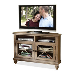 Riverside Furniture - Coventry Corner TV Console - Two top open storage areas with wiring access cutouts.
