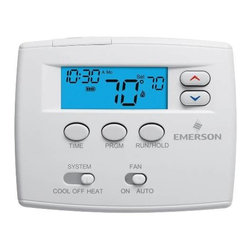 "WHITE RODGERS - EMERSON PROGRAMMABLE T-STAT 2"" BLUE - Blue 2"" Display, Single Stage (1H/1C) 24 HR Programmable, 4 periods per day,  Digital Thermostat, 24 Volts Or Millivolt, System Switch-Heat, Off, Cool, Fan Switch-Auto, On, Profile-Horizontal, Hardwired or Battery Powered, Range 45-90"