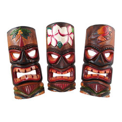 Set of 3 Polynesian Tiki Style Wall Masks 11 Inch - This set of 3 awesome Polynesian style wall masks is hand-carved from wood, then hand-stained and hand painted. Each mask measures approximately 11 inches tall, and 4 1/2 to 5 inches wide. They look great on walls in patios, living rooms, offices, bedrooms, even in kitchens.These wall masks makes a great gift for friends and family. NOTE: Since these masks are hand carved and hand painted, there may be slight color or facial differences from the pictures.