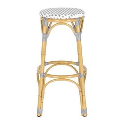 Safavieh - Safavieh Kipnuk Stool in Grey and White - Raise a glass to country and coastal decorating with the grey and white Kipnuk indoor-outdoor barstool from Safavieh. A colorful addition to a kitchen or patio bar, the pretty Kipnuk is inspired by classic European bistro stools and crafted of white PE wicker and aluminum faux bamboo for easy care. What's included: Barstool (1).