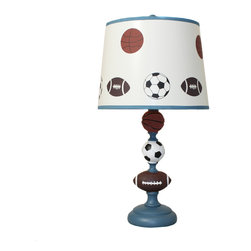 "ecWorld - Urban Designs 23"" All American Sports Kids Table Lamp - Ideal for kids that are sports fans this unique metal table lamp is the perfect lamp to uplift any room decor. Features a basketball, football and a soccer affixed solid base, beautifully atop by a white shade with painted accents. Long lasting performance and a prolonged shelf life with maximum ambiance."