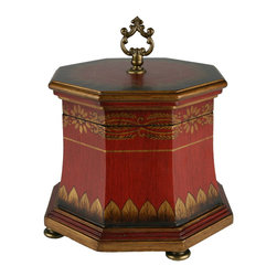 Brandi Renee Designs - Wooden Box Feathered Red Majesty Collection - This beautiful octagon shaped wooden box is hand painted in deep Chinese red and gorgeous gold highlights. It is a great stand alone piece or as a part of a decor grouping.