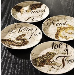 "Witches Spells Porcelain Salad Plate, Set of 4 - The familiar creatures necessary for a spellbinding witches' brew adorn our porcelain plates. 7.25"" diameter Made of porcelain with an on-glaze decal. Set of 4. Microwave- and dishwasher-safe. Catalog / Internet only."