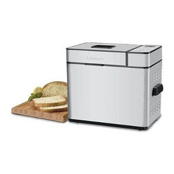 """Cuisinart - Bread Maker in Brushed Stainless - Everybody loves homemade bread, but not everybody has time to make it. Now Cuisinart does it for you! Our versatile Bread Maker offers a variety of crust colors and loaf sizes, and 12 preprogrammed menu options. Foolproof recipes include low carb and gluten-free breads, as well as jams and sauces. With a convenient 13-hour Delay Start Timer, that wonderful aroma of just-baked bread can be waiting for you when you walk in the door. Features: -12 Preprogrammed menu options, 3 crust colors and 3 loaf sizes offer over 100 choices . -Cuisinart-quality technology promises superior crust, color and texture. -Classic lines, embossed logo, and large, sturdy stay-cool handles. -Removable lid with viewing window. -Includes measuring cup, measuring spoon and Recipe Book . -Removable Kneading Paddle and Bread Pan . Specifications: -15-minute Pause, Bake-Only option, 12-Hour-Delay Start Timer, and Power Failure Backup. -680 watts. -Limited 3-year warranty. -Overall Dimensions: 15"""" H x 18"""" W x 12.2"""" D ."""