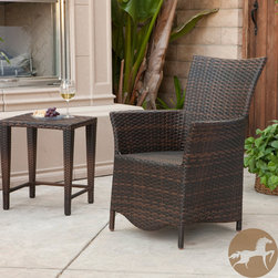 Christopher Knight Home - Christopher Knight Home Moonlight Outdoor Wicker Chair - This woven wicker chair features multiple shades of brown for a look that complements any outdoor setting. The curved back of this chair makes it a comfortable place to sit while relaxing outdoors alone or while entertaining guests.