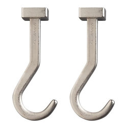 Set of 2 J.K. Adams Pot Hooks - Extra hooks for extra cookware. Matte nickel-plating puts a smooth finish on these cast zinc hooks that swivel 90 degrees to nest or reverse pots and pans.