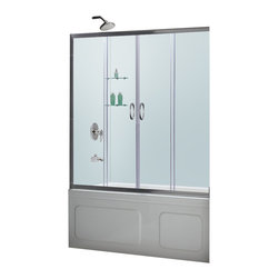 BathAuthority LLC dba Dreamline - Visions Frameless Sliding Tub Door and Qwall-tub Back Walls Kit - Choose the Visions Tub Door and Back wall Kit from Dream Line, an efficient and beautiful solution for a bathroom remodeling project. The Visions shower door has two stationary glass panels and two sliding glass panels that open to create an ample center point of entry. The wall panels are made from durable and attractive Acrylic/ABS materials, have a tile pattern and are easy to install with a trim-to-size fit. Dream Line kits deliver a complete transformation for a bath tub space.