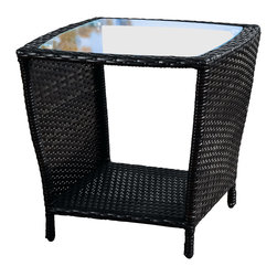 Great Deal Furniture - Easton Outdoor Wicker Accent Table, Black - The Easton outdoor outdoor wicker accent table is stylish and convenient for your outdoor needs. You can place this table poolside or near your seating area to serve snacks and beverages on top of the glass table top. The bottom compartment can be used to hold your plants or other items.