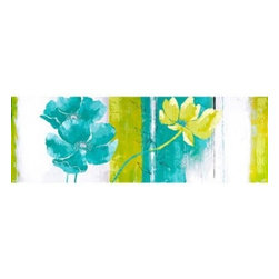 Yosemite Home Decor - Blues and Greens I Art - Beautifully painted floral in blues and greens on a heavily textured canvas painted in hues of blues and greens