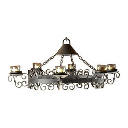 Large Wrought-Iron Candle Chandelier - Host the Game Of Thrones party at your house this year and gather under this dramatic fixture to predict who will lose their head next! This vintage Spanish Revival wrought-iron chandelier securely holds 6 pillar candles. It hangs from a heavy oval linked chain (length not included in measurements).