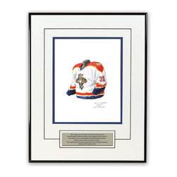 """Heritage Sports Art - Original art of the NHL 2003-04 Florida Panthers jersey - This beautifully framed piece features an original piece of watercolor artwork glass-framed in a timeless thin black metal frame with a double mat. The outer dimensions of the framed piece are approximately 13.5"""" wide x 17.5"""" high, although the exact size will vary according to the size of the original piece of art. At the core of the framed piece is the actual piece of original artwork as painted by the artist on textured 100% rag, water-marked watercolor paper. In many cases the original artwork has handwritten notes in pencil from the artist. Simply put, this is beautiful, one-of-a-kind artwork. The outer mat is a clean white, textured acid-free mat with an inset decorative black v-groove, while the inner mat is a complimentary colored acid-free mat reflecting one of the team's primary colors. The image of this framed piece shows the mat color that we use (Medium Blue). Beneath the artwork is a silver plate with black text describing the original artwork. The text for this piece will read: This original, one-of-a-kind watercolor painting of the 2003-04 Florida Panthers uniform is the original artwork that was used in the creation of thousands of Florida Panthers products that have been sold across North America. This original piece of art was painted by artist Nola McConnan for Maple Leaf Productions Ltd. The piece is framed with an extremely high quality framing glass. We have used this glass style for many years with excellent results. We package every piece very carefully in a double layer of bubble wrap and a rigid double-wall cardboard package to avoid breakage at any point during the shipping process, but if damage does occur, we will gladly repair, replace or refund. Please note that all of our products come with a 90 day 100% satisfaction guarantee. If you have any questions, at any time, about the actual artwork or about any of the artist's handwritten notes on the artwork, I"""