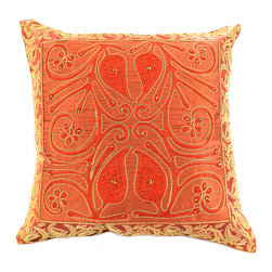 """Banarsi Designs - Ornamental Embroidered Pillow Cover, Set of 2, Golden Orange - The """"Ornamental Embroidered Pillow Cover"""" represents artistic qualities through a very detailed and imaginative Indian embroidered and hand-stitched process known as Cut Dana."""