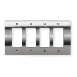 Atlas - Zephyr Metal Quad Rocker Switch Plate - PHPQR - Color: Brushed NickelManufacturer SKU: PHPQR-BRN. Projection: 0.37 in.. 4.87 in. L x 8.63 in. W