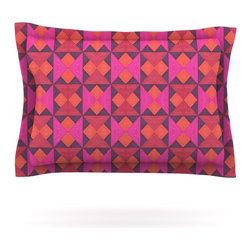 """Kess InHouse - Empire Ruhl """"A Quilt Pattern"""" Pink Red Pillow Sham (Cotton, 40"""" x 20"""") - Pairing your already chic duvet cover with playful pillow shams is the perfect way to tie your bedroom together. There are endless possibilities to feed your artistic palette with these imaginative pillow shams. It will looks so elegant you won't want ruin the masterpiece you have created when you go to bed. Not only are these pillow shams nice to look at they are also made from a high quality cotton blend. They are so soft that they will elevate your sleep up to level that is beyond Cloud 9. We always print our goods with the highest quality printing process in order to maintain the integrity of the art that you are adeptly displaying. This means that you won't have to worry about your art fading or your sham loosing it's freshness."""