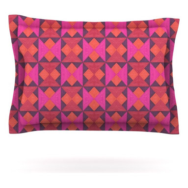 """Kess InHouse - Empire Ruhl """"A Quilt Pattern"""" Pink Red Pillow Sham (Cotton, 30"""" x 20"""") - Pairing your already chic duvet cover with playful pillow shams is the perfect way to tie your bedroom together. There are endless possibilities to feed your artistic palette with these imaginative pillow shams. It will looks so elegant you won't want ruin the masterpiece you have created when you go to bed. Not only are these pillow shams nice to look at they are also made from a high quality cotton blend. They are so soft that they will elevate your sleep up to level that is beyond Cloud 9. We always print our goods with the highest quality printing process in order to maintain the integrity of the art that you are adeptly displaying. This means that you won't have to worry about your art fading or your sham loosing it's freshness."""