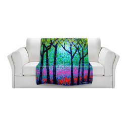 DiaNoche Designs - Throw Blanket Fleece - Spring Woodland - Original artwork printed to an ultra soft fleece blanket for a unique look and feel of your living room couch or bedroom space. Dianoche Designs uses images from artists all over the world to create Illuminated art, canvas art, sheets, pillows, duvets, blankets and many other items that you can print to. Every purchase supports an artist!
