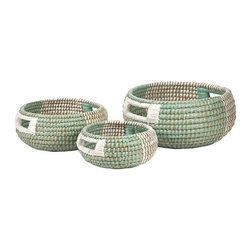 "IMAX - Harvey Two-tone Woven Trays - Set of 3 - Beautifully crafted, this set of three woven bowls feature fresh mint green designs with white accents to perfectly complement the natural fiber construction. Item Dimensions: (10-14-18""h x 17-21-25""w x 8-10-13"")"