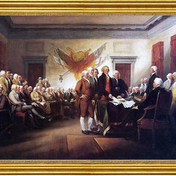 """John Trumbull-16""""x24"""" Framed Canvas - 16"""" x 24"""" John Trumbull The Declaration of Independence, July 4, 1776 framed premium canvas print reproduced to meet museum quality standards. Our museum quality canvas prints are produced using high-precision print technology for a more accurate reproduction printed on high quality canvas with fade-resistant, archival inks. Our progressive business model allows us to offer works of art to you at the best wholesale pricing, significantly less than art gallery prices, affordable to all. This artwork is hand stretched onto wooden stretcher bars, then mounted into our 3"""" wide gold finish frame with black panel by one of our expert framers. Our framed canvas print comes with hardware, ready to hang on your wall.  We present a comprehensive collection of exceptional canvas art reproductions by John Trumbull."""