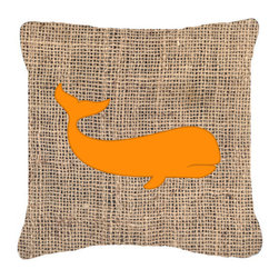 Caroline's Treasures - Whale Burlap and Orange Fabric Decorative Pillow BB1021 - Indoor or Outdoor Pillow made of a heavy weight canvas. Has the feel of Sunbrella fabric. 14 inch x 14 inch 100% Polyester Fabric Pillow Sham with Pillow form. This Pillow is made from our new canvas type fabric can be used Indoor or outdoor. Fade resistant, stain resistant and Machine washable.