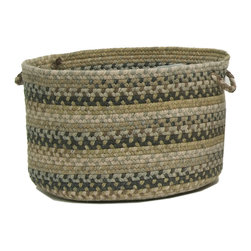 """Colonial Mills, Inc. - Ridgevale, Grecian Green Utility Basket, 14""""X10"""" - Neutral shades of green and beige give this braided storage basket a subtle, natural look that blends gracefully into its surroundings. Use it to gather household clutter or store practical necessities, and it will keep it all on the down low."""