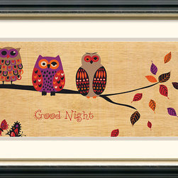 Amanti Art - Good Night Owl Framed Print by Wild Apple Portfolio - These feathered friends are here to wish you a Good Night; a wonderful framed print for the kids or the kid in all of us.