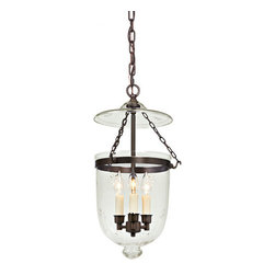 JVI Designs - Medium Oil Rubbed Bronze Three-Light Hanging Bell Pendant with Star Glass - -Carrying the vision of rich opulence, the Bell Jar has evolved through times remaining a focal point of richness and affluence. From visions of old time class to modern day elegance, the bell jar remains a favorite in several settings of the home. Using mouth blown glass of different arrays and designs...the possibilities are endless to find a piece that matches your desired personality and vision.  -Materials: Brass and Steel  -Shade(s): Star Glass JVI Designs - 1021-08