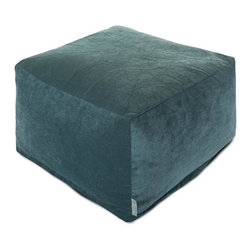 Majestic Home Goods - Villa Azure Large Ottoman - Add a little character to your living room with the Majestic Home Goods new Villa collection. This large ottoman is the perfect accessory to add comfort and style to any room while functioning as a decorative foot stool, pouf, or coffee table. Woven from 100% polyester Micro-velvet, these ottomans are durable yet comfortable. The beanbags are eco-friendly and feature a zippered slipcover. Spot clean slipcover with mild detergent and hang dry. Do not wash insert.