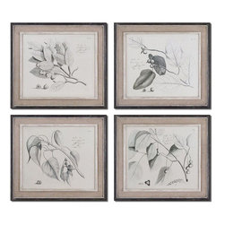 Uttermost - Sepia Leaf Study Wall Art, Set of 4 - These Oil Reproductions Feature A Hand Applied Brushstroke Finish. Artwork Is Accented By Light Tan Burlap Mats And Heavily Distressed Black Frames With A Gray And Taupe Wash. The Inner Lip And Liner Of Each Frame Has A Medium Wood Tone Base With A Heavily Distressed, Painted White Finish Topped Off With A Gray And Taupe Glaze.