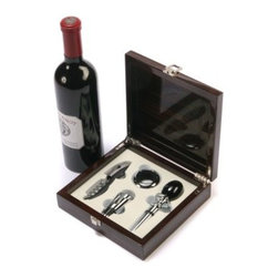 Red Vanilla Piano Varnish 4 pc. Wine Accessory Set - Having the Red Vanilla Piano Varnish 4 pc. Wine Accessory Set will make you look like a pro, but here's another secret to opening a bottle of wine: Don't talk about the process of opening a bottle while you're opening the bottle. If you talk about anything else, it will distract people from what you're doing and make you more comfortable. But you'll already be comfortable when you have a full set of tools housed in a box crafted from rich hardwood. A wine key, stopper, spout, and drip ring let you savor the process, from smelling the cork until that very last sip.