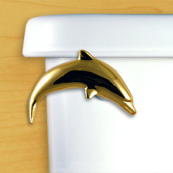 Functional Fine Art - Dolphin Toilet Flush Handle, Gold - Elegantly and beautifully crafted dolphin toilet flush handle. Great coastal bathroom hardware!