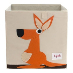 3 Sprouts - Kangaroo Storage Box - The 3 Sprouts storage box is the perfect organizational tool for any room. With sides reinforced by cardboard our storage box stands at attention at all times. Made to fit almost all cubby hole shelving units it adds a pop of fun to every room. Whether standing alone or placed in a cubby hole the 3 Sprouts storage box makes organizing easy.