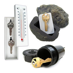 Trademark Home Collection - Hide a Key Set - Includes Rock, Thermometer & - Realistic look - made from a real sprinkler head. Waterproof and virtually indestructible. Enough room for keys, spare money or a small document. Only you will know where it is!. Attach your keys to the included key chain and screw into the sprinkler head so you don't have to reach around in the dark. Rock: 2 in. L x 2 in. W x 3.75 in. H