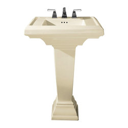 """American Standard - American Standard 0790.800.222 Town Square Pedestal Sink, Linen - American Standard 0790.800.222 Town Square Pedestal Sink, Linen. This pedestal sink set has a classic American design with it's clean straight lines and ogee curves. It comes ith a supplied mounting kit, a rear overflow, and a fireclay construction. This model comes with 8"""" centered faucet mounting hole, and it measures 24"""" by 20-1/4"""", with a 6-1/2"""" bowl depth."""
